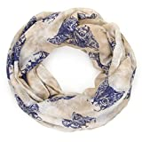 MANUMAR Loop-Schal für Damen | Hals-Tuch in beige blau mit Katzen Motiv als perfektes Herbst Winter Accessoire | Schlauchschal | Damen-Schal | Rundschal | Geschenkidee für Frauen und Mädchen