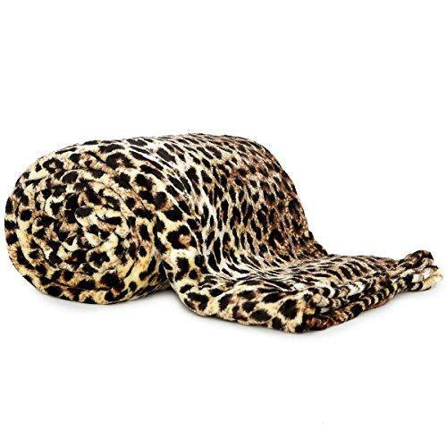 Coperta plaid in pile leopardato effetto pelliccia matrimoniale ...
