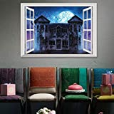 Wandtattoo Halloween Wanddeko 50x70cm Wandaufkleber Emulation Landschaft 3D Wandsticker Windows Schädel Wandkunst TV Hintergrund Wand Dekoration Kunst Aufkleber Dekorateur Hausdekoration Rovinci