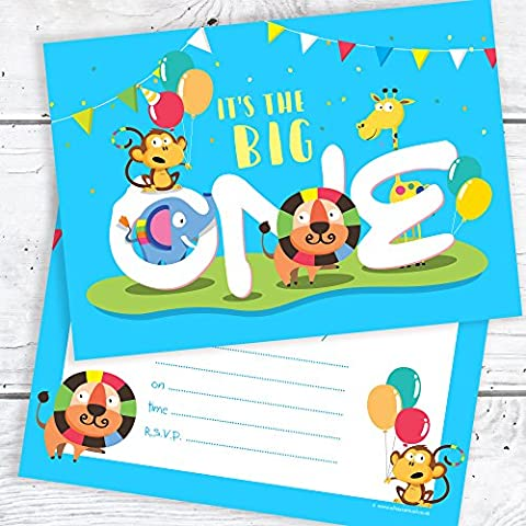 Blue 1st Birthday Party Invitations - The Big One -