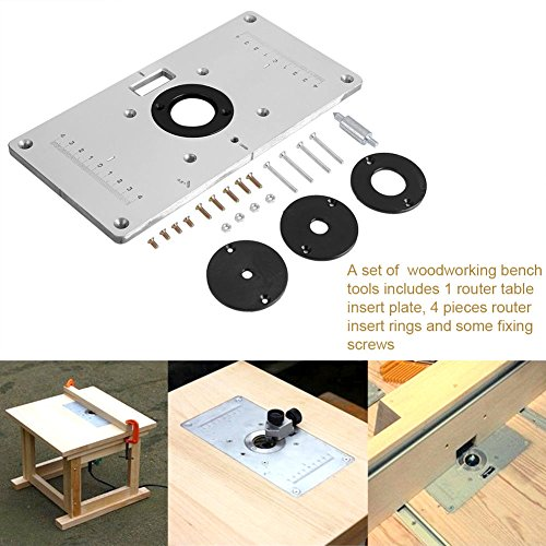 Router insert plate buyitmarketplace aluminum router table insert plate with 4pcs router insert rings for popular router trimmers models engrving greentooth Choice Image