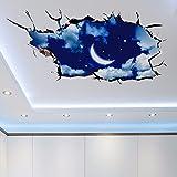 Rimovibile 3D Stereo adesivo parete Soggiorno D?Cor massimale sul tetto del padiglione cielo stellato Luna 105x60cm