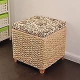Taburete de almacenamiento Casa de ocio Caja de almacenamiento con tapa de cubo de basura Tejido de madera maciza Cambio de banco de zapatos rural Sentado Taburete ( Color : 40*40*40cm )