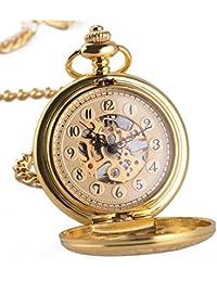 f79225f54d0 VATENZONE Steampunk Antiguo Medio Cazador mecánico Mano-Viento Oro Ver a  través de Lupa Caso Vintage Esqueleto Bronce Reloj de…