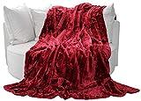 Brandsseller Felldecke, Hochwertige Kuscheldecke, Decke, Wohndecke, Nerzdecke, Plaid, Webpelzdecke, Tagesdecke (180 x 220 cm, Rot)