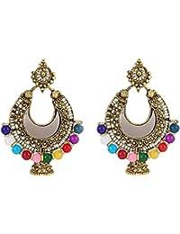 Oxidized Gold Antique Mirror Chandbali Earrings German Gold Plated Antique Finish Chandelier Big Jhumki Earring...