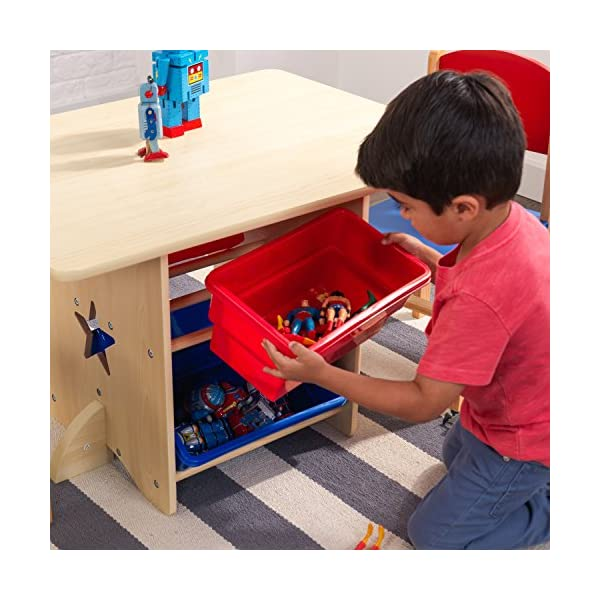 KidKraft 26912 Star Wooden Table & 2 Chair Set with storage bins, kids children's playroom / bedroom furniture - Red & Blue KidKraft Four convenient storage bins Bins can be reached from either side of table Star-shaped holes on table and chairs 8
