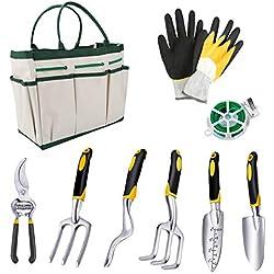 Powcan Garden Tools Lot de 9 Outils de Jardinage avec Sac de Rangement Anti-acariens Argenté