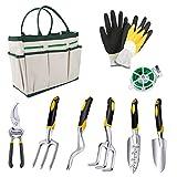 Powcan Garden Tools 9-teiliges Gartenwerkzeug-Set, mit Aufbewahrungstasche, Milbenschutz, silberfarben