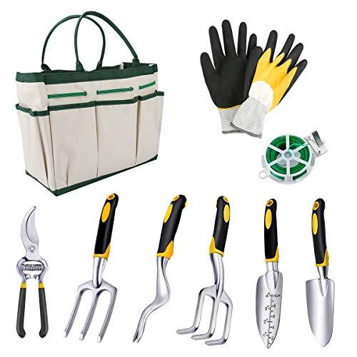 Juego de herramientas de jardinería 9 Piezas con Bolsa de Almacenamiento, antiácaros, Silver