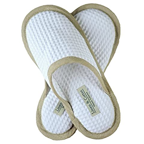 Linen & Cotton Soft, Lightweight White/Natural Slippers, 100% Cotton (Eur 39-40 (UK 6-7))
