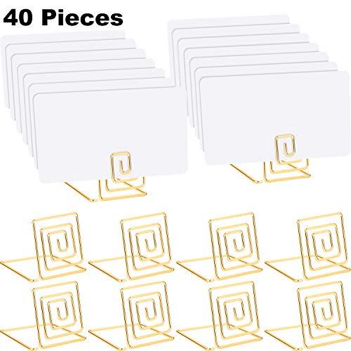 Chuangdi 20 Stücke Draht Platz Kartenhalter mit 20 Stücke Weiße Karten Metall Kartenhalter Stand Hochzeit Name Platz Holder für Hochzeiten, Dinner Parties, Lebensmittel Schilder (Stil 1, Gold Farbe) Gold Stand