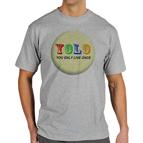 YOLO You Only Live Once Badge Light Yellow Background Herren T-Shirt Grau