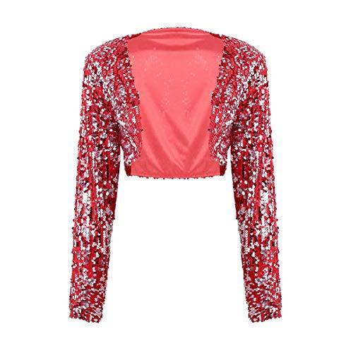 Tiaobug Damen Glänzend Pailletten Jacke Cardigan Langarm Pullover Bolero Tops kurz Oberteile eleganter Blazer Glitzer Party Outfits Clubwear Rot B One Size