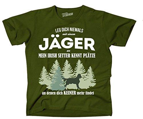 Siviwonder Unisex T-Shirt JÄGER IRISH SETTER Hund kennt Plätze niemand findet OLIVE Olive