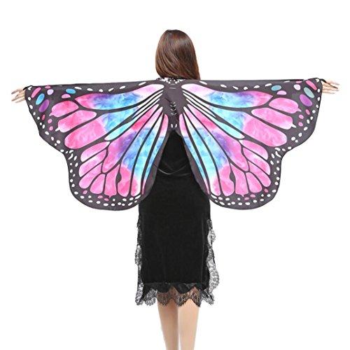 ZEZKT Schmetterlings Flügel Butterfly Wings Shawl Fairy Ladies Nymph Pixie Costume Accessory Große Schmetterlingsflügel Schmetterling Kostüm Damen Karneval Cosplay Accessoires Umhang (147*70CM, M)