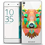 Caseink - Coque Housse Etui pour Sony Xperia XA [Crystal HD Polygon Series Animal - Rigide - Ultra Fin - Imprimé en France] - Cerf