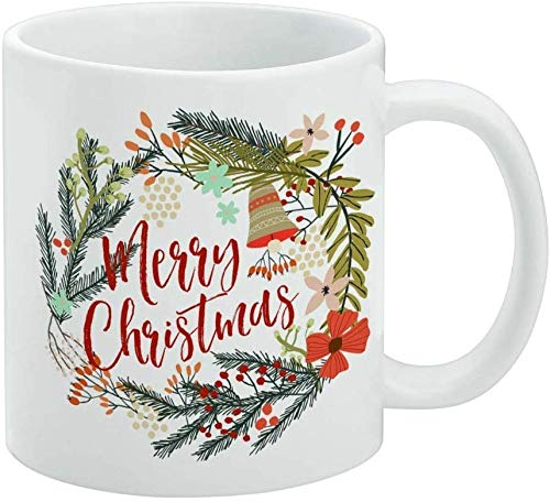 Merry Christmas Wreath Mistletoe Bell White Mug 11oz Mother's Day Christmas Birthday Woman's Day New Year's Eve Thanksgiving Easter May Day -