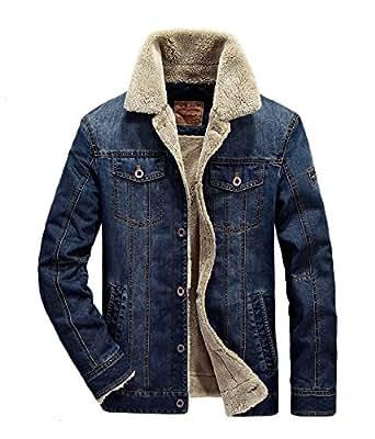 herren denim jeansjacke mit fell jacke mantel winterjacke. Black Bedroom Furniture Sets. Home Design Ideas