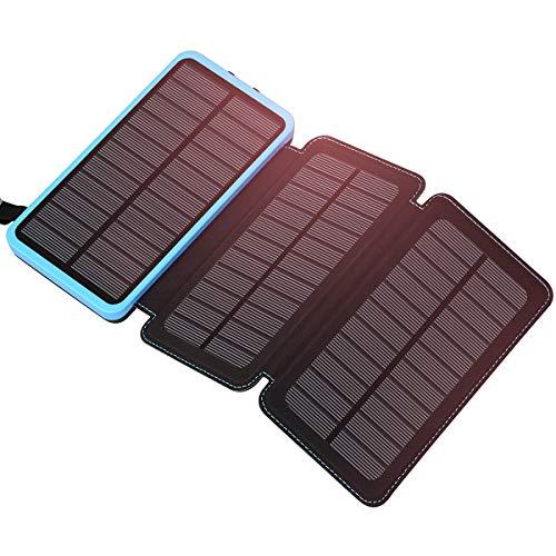 ADDTOP Solar Power Bank 24000mAh Solar Ladegerät mit 3 Sonnenkollektoren Wasserdichte Externer Akku Kompatibel mit Smartphones, Tablets Outdoor-Aktivitäten