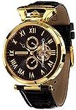 Calvaneo 1583 Herren-Armbanduhr Venedi Gold Black Analog Automatik Leder schwarz 107921