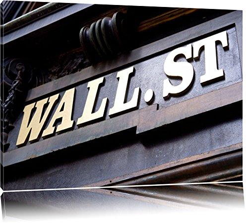 Bank New York (Wall Street in New York Format: 120x80 auf Leinwand, XXL riesige Bilder fertig gerahmt mit Keilrahmen, Kunstdruck auf Wandbild mit Rahmen, günstiger als Gemälde oder Ölbild, kein Poster oder Plakat)