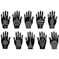 Xmasir Henna New Design Tattoo Stencil Kit 10 Sheets,Temporary Tattoo Temples Indian Arabian Tattoo Stickers for Hands Body Art