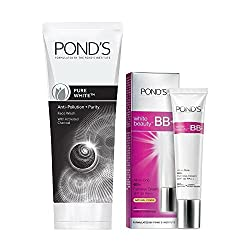 Ponds Pure White Anti Pollution Face Wash, 50g With Ponds White Beauty BB Fairness Cream, 9g