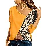 Subfamily Mode Damen Casual Patchwork Color Block O Ausschnitt Langarm T Shirt Bluse Top Splicing Kontrast Rundhals Langarm T Shirt Damen Top Bekleidung Damen Kleider (L, Gelb 7751)