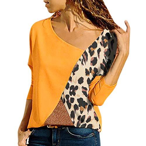 Ears Frauen Langarm Tops Spleißen Farbe Leopardenmuster Casual Shirt Einfache Bluse V-Ausschnitt Freizeit Pullover Mode Retro T-Shirts Strickjacke Elegant Longshirt Vintage Mantel Ausschnitt Mantel