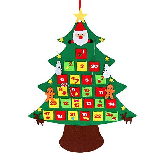 Kefan calendario dell' avvento feltro albero di natale conto alla rovescia per natale calendario per bambini da appendere alla parete decorazione