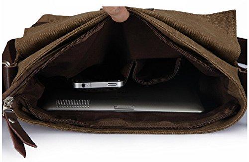 """Simple Casual da uomo, in tela, borsa Messenger Bags-Borsa a tracolla, borsa a tracolla, cartella da lavoro, ufficio, affari Army Coffee 25CM × 27CM × 6CM (9.84"""" x 10.63"""" x 2.36"""") Army Coffee"""