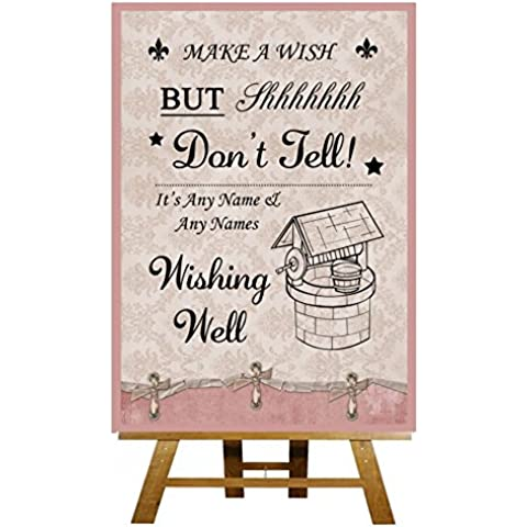 Wishing Well Rosa Shabby Chic Collection–stampa di Matrimonio Segno Large A3