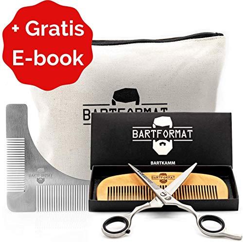 """Bartpflege Set\""""KURZMACHER\"""" von BARTFORMAT - Bartschere (16 cm) Edelstahl matt + Bartkamm (13 cm) 100{13faee79df001cf335c32f88963002f0545d96249e1f7b6752521031008aea4a} Birnbaumholz - sehr scharfe Schere für den Bart, mit herausnehmbaren Fingerverkleinerern"""