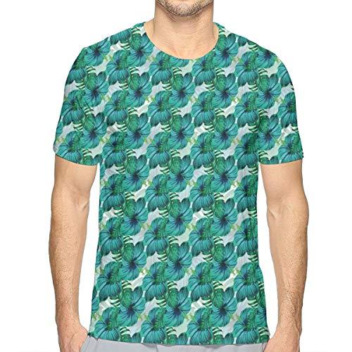 Hibiscus-aloha-shirt Herren (3D Printed T Shirts,Aloha Summer Hibiscus and Tropic Leaves XL)