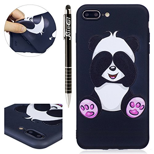 Coque iPhone 7 Plus, iPhone 7 Plus Coque en Silicone, SainCat Ultra Slim TPU Silicone Case Cover pour iPhone 7 Plus, Silicone 3D Conception Coque Anti-Scratch Soft Gel Cover Coque Caoutchouc Fleur Tra Panda Géant