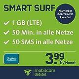 Smart Surf mit 1GB LTE Internet Flat max. 21 MBit/s, 50 Frei-Minuten & 50 SMS in alle deutschen Netze, 24 Monate Laufzeit, monatlich nur 3,99 EUR, Triple-Sim-Karten