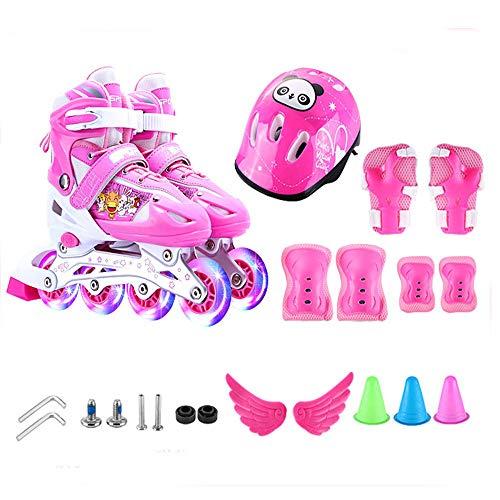 Inline Skates Rollerblades Vollblitz Einstellbar Vier Größen ABEC-7 Tragrolle Mit Schutzausrüstung 3-4-5-6-8-10 Jahre Anfänger Spaß Unisex Rollschuhe,L