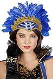 Federkopfschmuck Rio Brasil Samba Rumba. Kopfschmuck mit Pailletten und Federn (Blau)