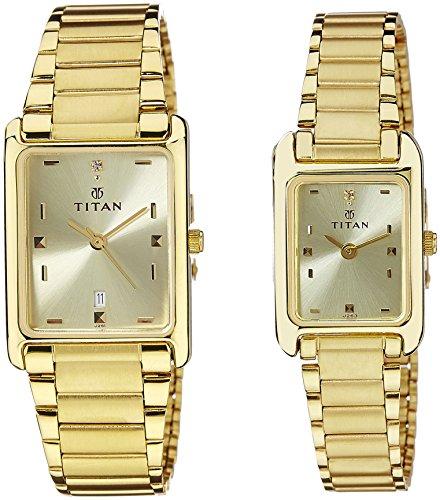 51vik56x7dL - Titan NC531193YM06 Bandhan Champagne Couples watch