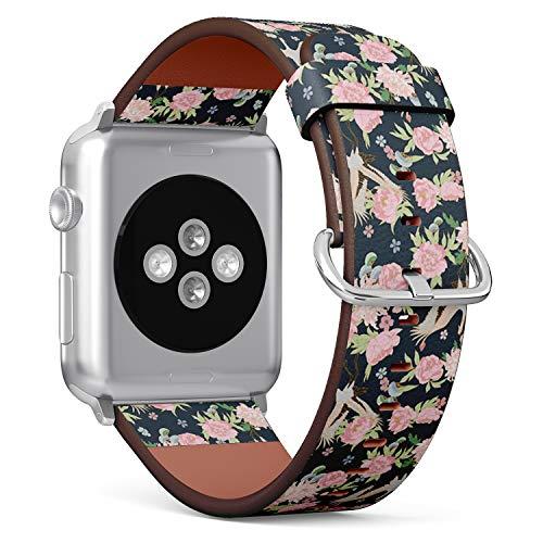 Armband für Apple Watch, 38 mm und 40 mm, Leder, mit Edelstahlverschluss und Adaptern (asiatische Storche blühende Pfingstrosen)