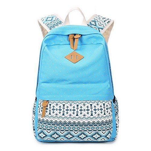 Acmebon Zaino leggero per donne casual, borsa in tela con tracolla per Scuola, Astuccio con cerniera. Set da 3 pz Blu scuro 620 Azzurro