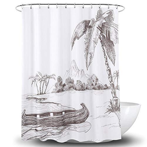 YAHAO Duschvorhang Polyester, Wasserdicht 180x180 cm Anti-Bakteriell Anti-Schimmel Waschbar Mit 12 Ringe, Für Badezimmer Badewanne,A