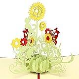 Papier Spirit Sonnenblume Geburtstagskarte Pop Up Dankeskarten, Danksagungskarte, Geburtstagskarten Glückwunschkarten Grußkarten Geburtstag (Rote Abdeckung)