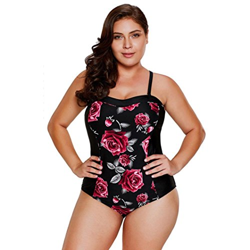 ESAILQ Swimsuit Set, Plus Sizes Women Swimming Padded Swimsuit Monokini Bikini Womens Summer Beach Two Piece Strapless Bandage Swimsuit