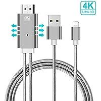 Cable Lightning HDMI, Baseus 2M/6.5FT Nylon Trenzado Apple a HDMI Cable de Soporte 4K HDTV Video AV Dispositivo HDTV Adapter para iPhone X/8/7/6/5 Proyector de TV a Dispositivo HDMI Plug and Play