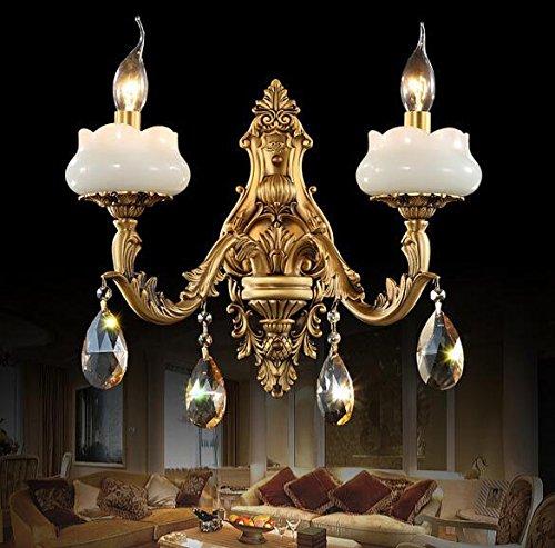 BBSLT Giada ottone europea-stile pieno-ottone lampada vintage entrata corridoio fronte di specchio di lusso di cristallo luci 280/400 * 400 mm , double headed