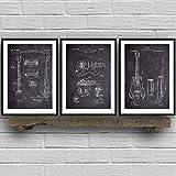 XQWZM Affiches et gravures de Guitare, Musique Vintage Blueprint Blue Wall Art Toile Peinture rétro Photos, pour Salon décoration 42X60Cmx3 pièces
