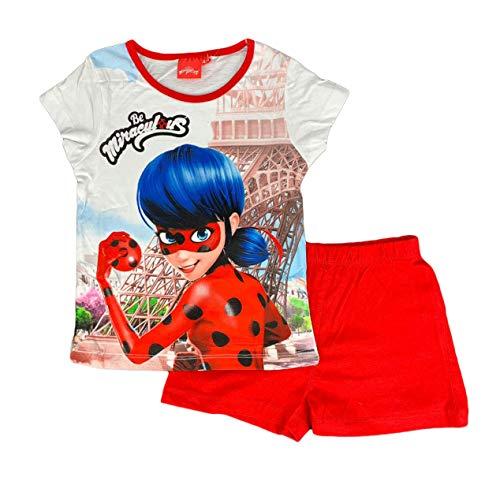 SUN CITY Schlafanzug Mädchen Wundersame Lady Bug T-Shirt und Shorts aus Baumwolle Print 0940 - Weiß-rot, 4 Jahre -