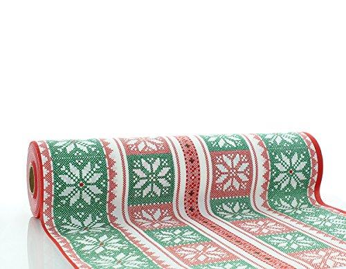 Sovie Horeca Tischläufer Chriss in Rot-Grün   aus Linclass® Airlaid   Weihnachtssterne Weihnachten  40 cm x 24 m   1 Stück